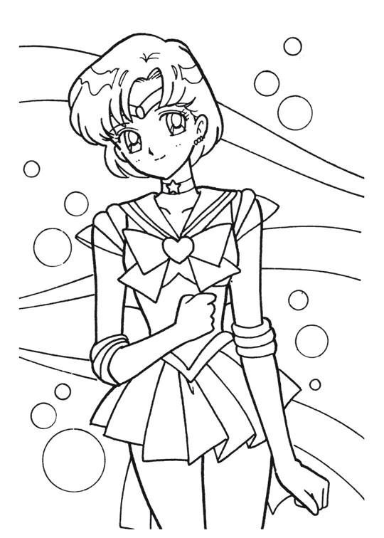 Sailor Moon Series Coloring Pages: Sailor Mercury | Needlepoint ...