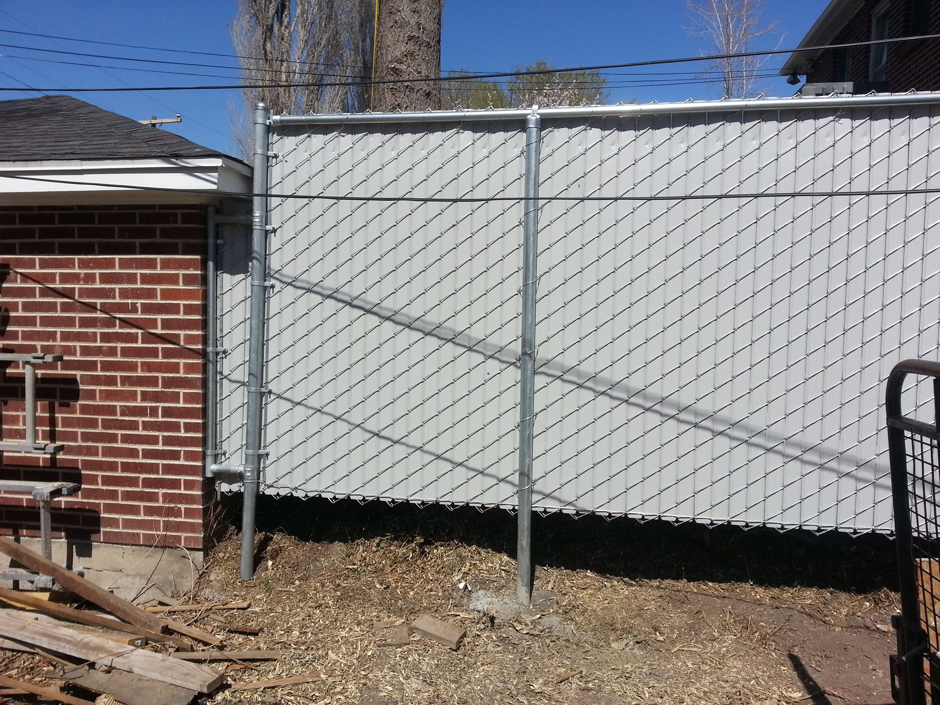 Chainlink, Galvanized Wire, Gray Privacy Slats, 6\' High   Privacy ...