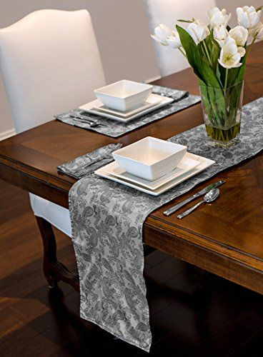 Black Grey Jacquard Paisley Print Table Runner Mat Topp Printed Table Runner Dining Table In Kitchen Table Runner And Placemats