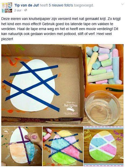 Photo of Tip van de Juf (Facebook): Paaseiere met krijt. Tip van de Juf (Facebook): Paas …