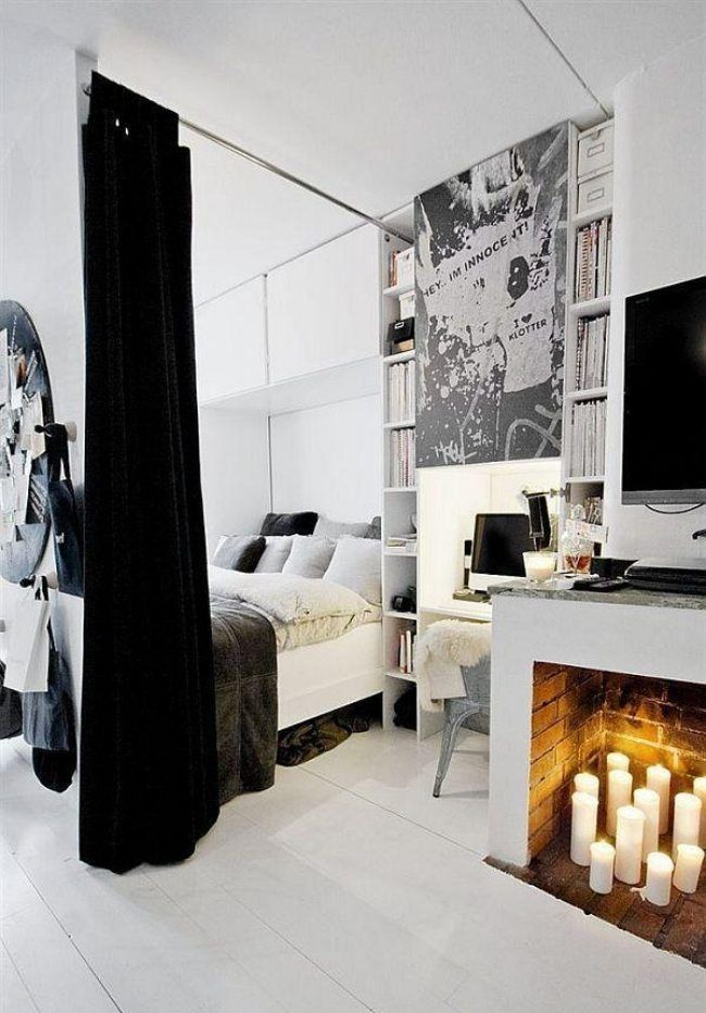 kleinen raum planen vorhang bett wohnzimmer kamin. Black Bedroom Furniture Sets. Home Design Ideas