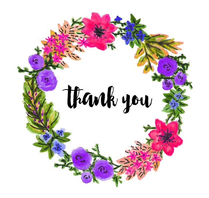 thankyou card flower wreath aquarelle | Thank you ...