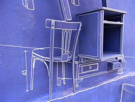 Art installation based on blueprint technical drawings by Taiwanese - new old blueprint art