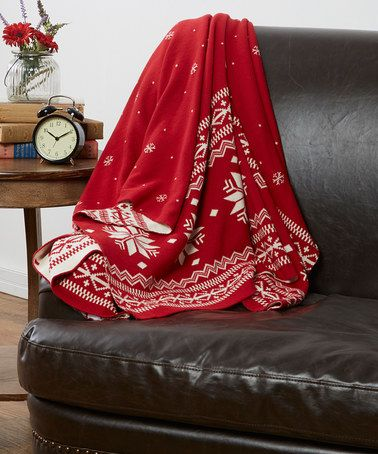 Another great find on #zulily! Red Fair Isle Reversible Throw ...