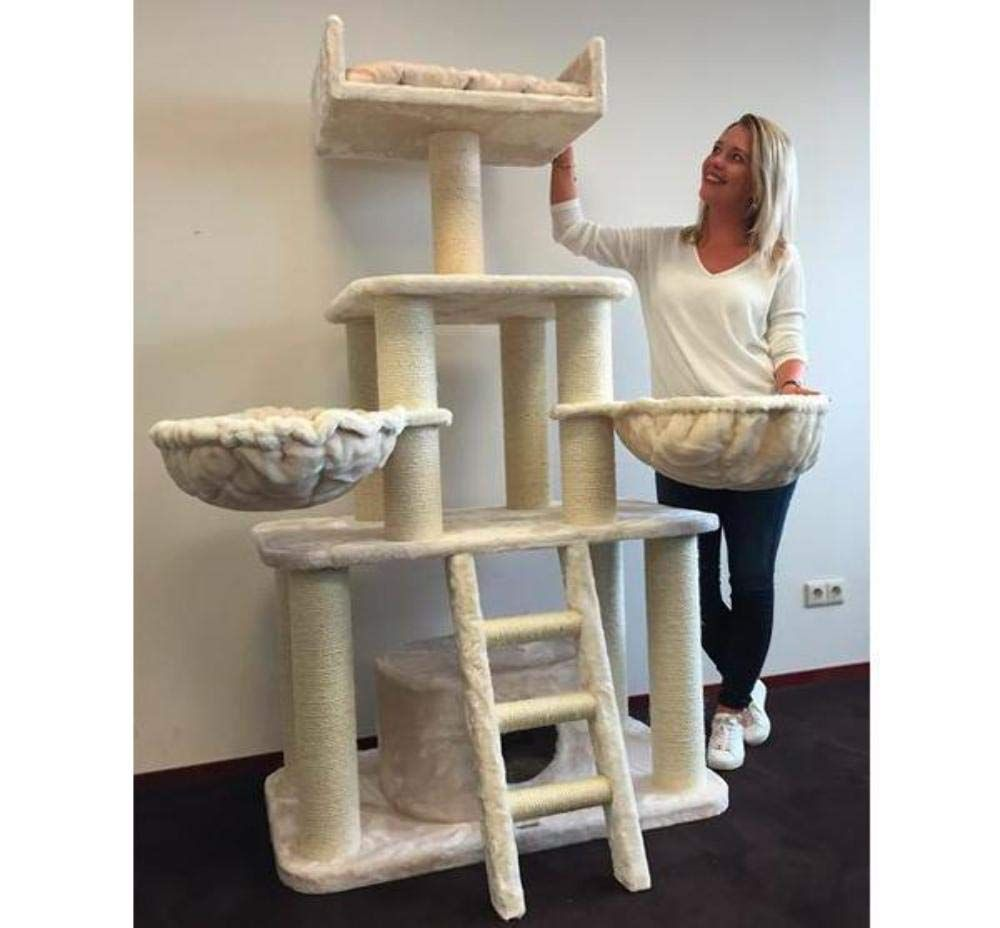 Large Extra Sturdy Beige Cat Tree Condo Cool Cat Tree Plans Cat Tree Cat Scratching Post Cat Tree Condo