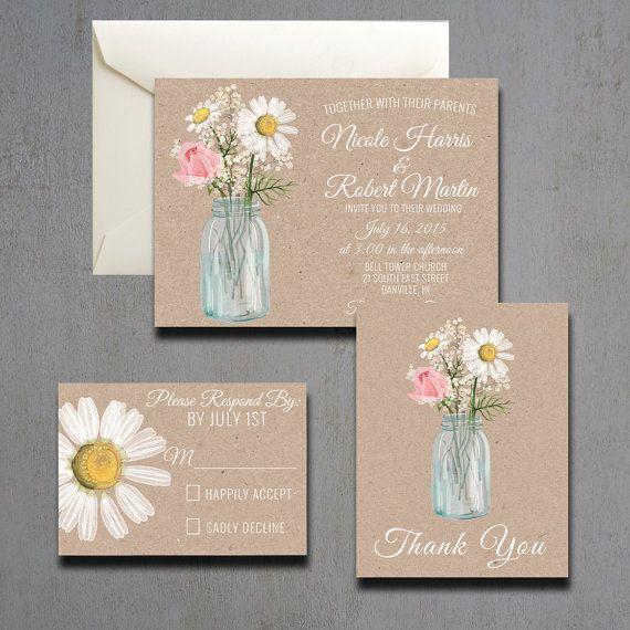 Watercolor Mason Jar And Daisy Wedding Invitation By Heartwoodpaperie