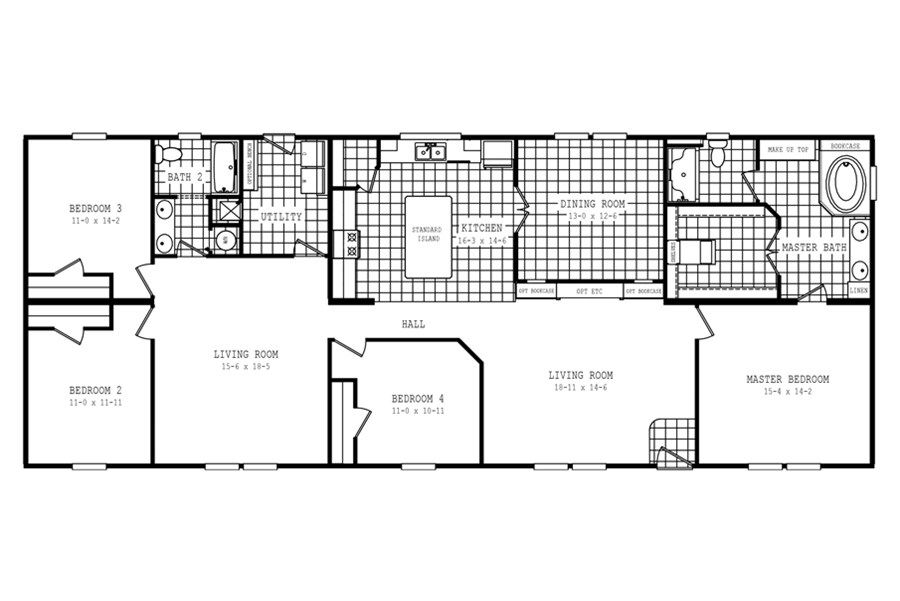 Oakwood Homes Floor Plans floorplan 1710 76x32 ck4+2 hertiage | 58fre32764gh | oakwood homes
