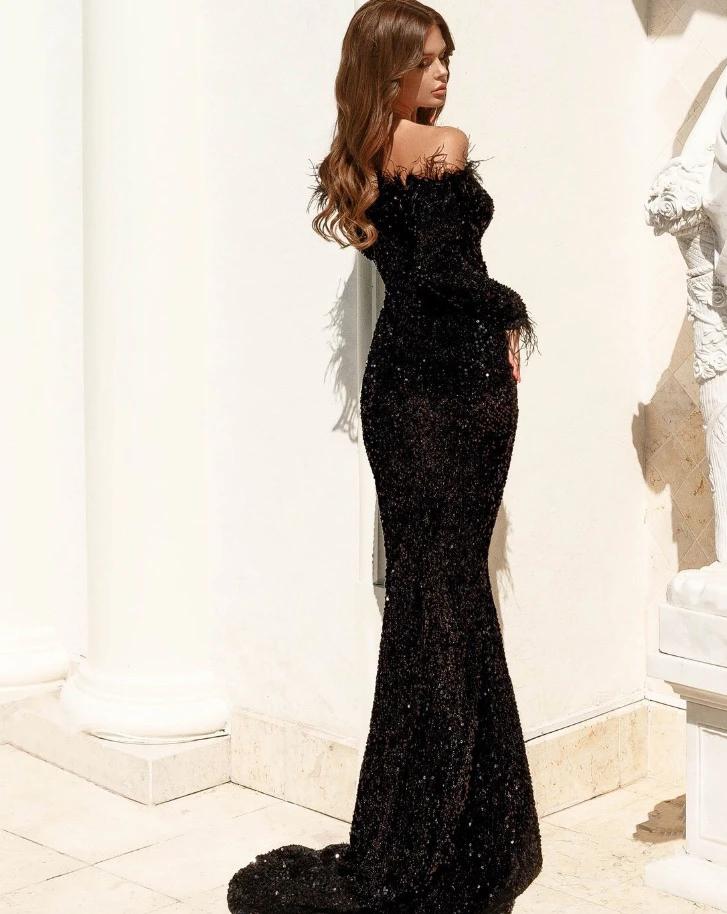 تفاصيل المنتج متوفر باللون الأسود ترتر أطراف مزينة بالفرو أكمام طويلة طول الكاحل 100 بوليستر Dresses Formal Dresses Formal Dresses Long