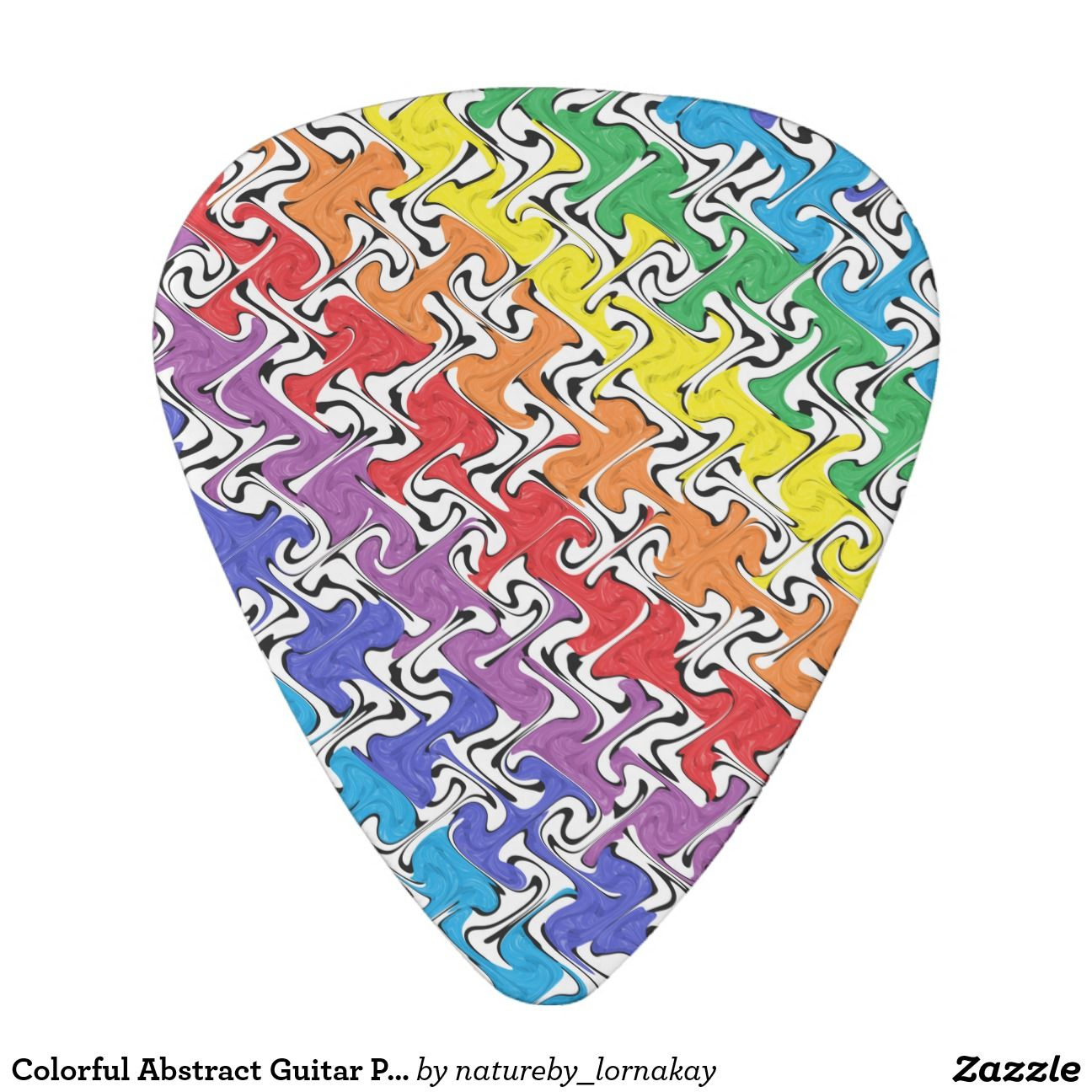 Colorful Abstract Guitar Pick #guitarpick #colorful #rainbowcolors #shapes #nondescript #fun