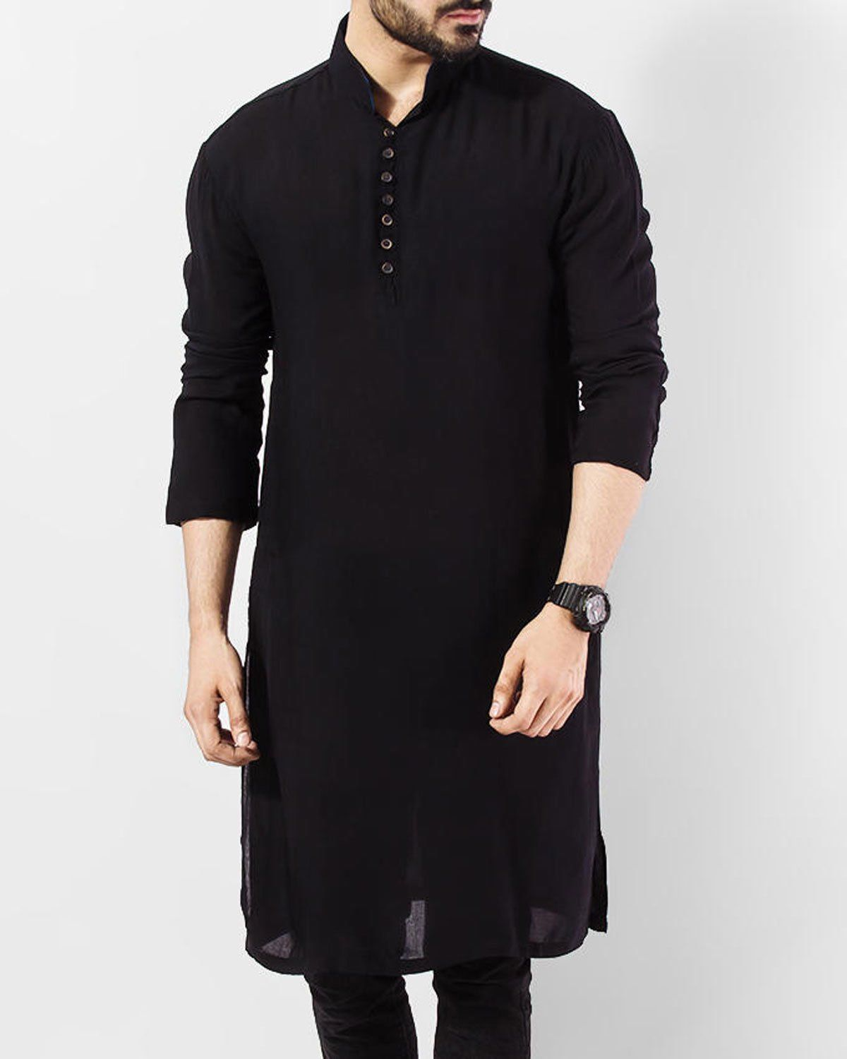 Indian Men/'s Short Kurta Shirt 100/% Cotton Plus Size Loose fit Solid Black Color Floral