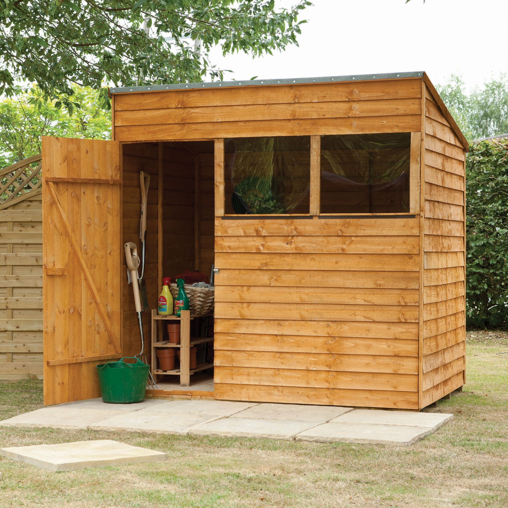 Garden Sheds 7x5 7x5 larchlap pent overlap wooden shed base included | garden ideas