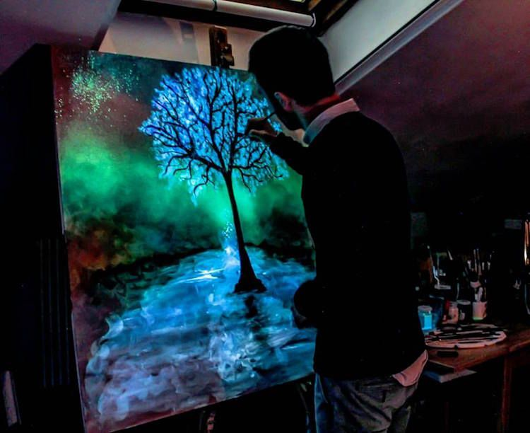 Artist Creates Glow In The Dark Paintings That Come To Life In The