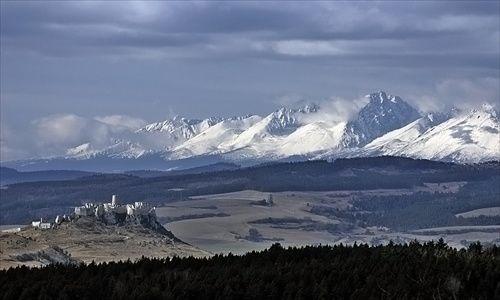 Spišský Castle with High Tatras in the background, Slovakia