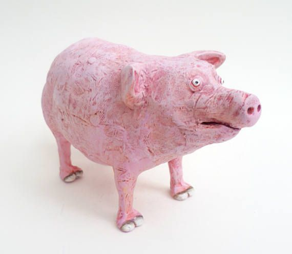 Pink Pig Farm Animal Piggy Baby Piglet Ornament Figurine Statue