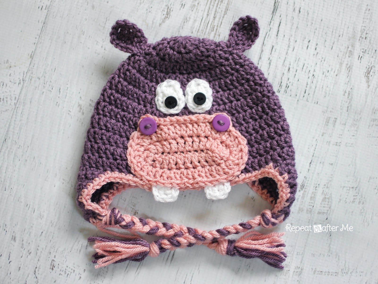 Repeat Crafter Me: Crochet Hippo Hat Pattern | gorros | Pinterest ...
