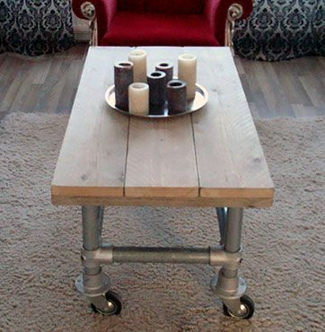 Coffee table made with kee klamp fitting base pipe furniture muebles dise o industrial - Muebles diseno industrial ...