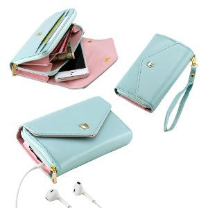 biggest discount 946bd 0f916 Amazon.com: Mint Green Multifunctional Wallet Purse Case for iPhone ...