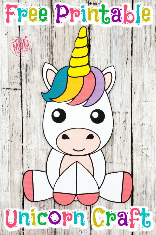 Free Printable Unicorn Craft for Kids - Unicorn crafts, Rainy day crafts, Unicorn printables, Birthday party crafts, Crafts for kids, Crafts - Use the FREE printable unicorn template to make a fun and cute unicorn craft with your preschooler, toddler or kids  Perfect for a unicorn birthday party!