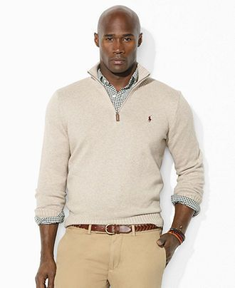 0b13a942fabc44 Ralph Lauren Big and Tall Sweater, Half-Zip Lightweight Sweater - Mens  Sweaters - Macy's (