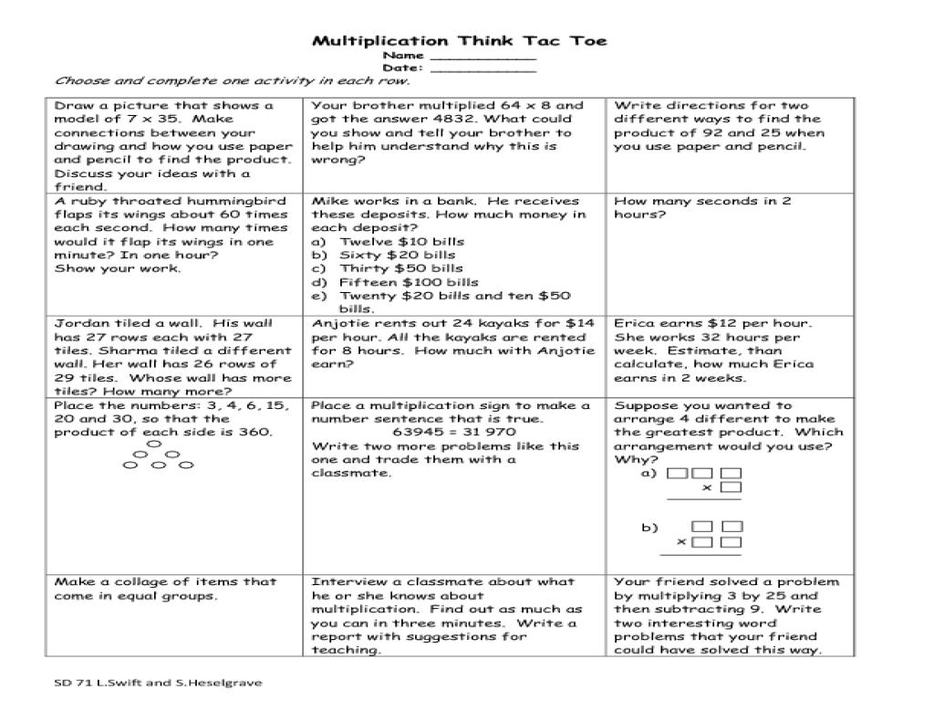Multiplication Think Tac Toe Worksheet