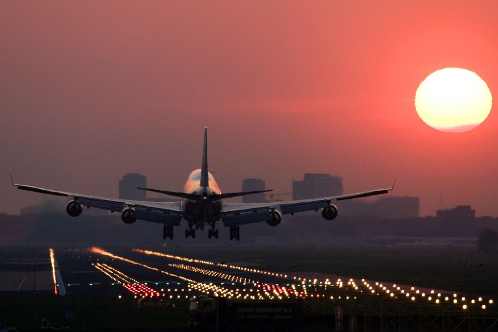 Boeing 747 Sunrise Landing Airplane Photography Boeing 747