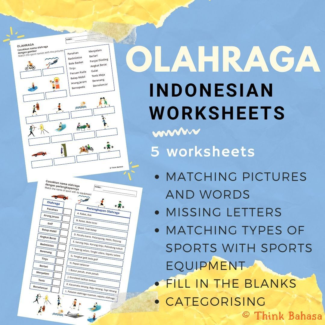 Sports in Indonesian (Worksheets & Answer Keys) Olahraga
