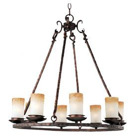 """Showcasing an oil-rubbed bronze finish and frosted glass shades, this timeless chandelier casts a stylish glow over your foyer or dining room decor.    Product: ChandelierConstruction Material: Metal and glassColor: Oil rubbed bronzeFeatures:  Includes 180"""" of wire36"""" Chain length Accommodates: (8) 60 Watt incandescent bulbs - not includedDimensions: 31"""" H x 30"""" DiameterNote: Assembly required"""