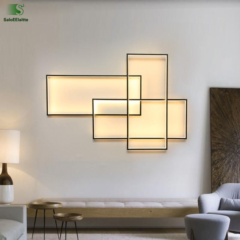 Modern Rectangle Aluminum Led Wall Lamps Acrylic Living Room