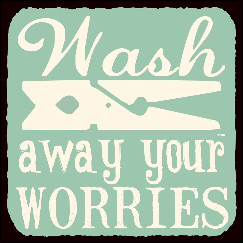 Wash Away Your Worries Vintage Metal Art Retro Laundry Room Tin Sign