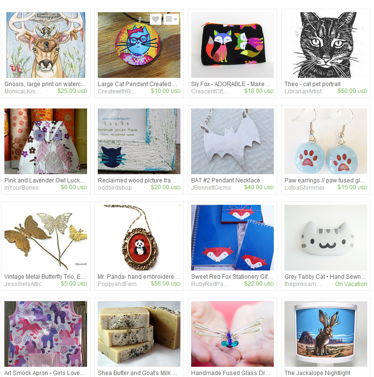 Animals from A to Z - From cats to bats and paws to prints, Austin Craft Riot loves our animals.  https://www.etsy.com/treasury/MTExMjg1MjZ8MjcyNDgyNzE4Mw/animaux