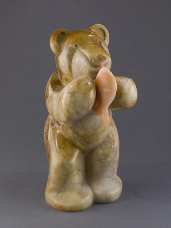 Utah #alabaster Animal Form: Abstract #sculpture by #sculptor Mark Yale Harris titled: 'Bear Necessities (Minimalist Stylised Carved Alabaster Eating statues)'. #art #artist #artwork #MarkYaleHarris