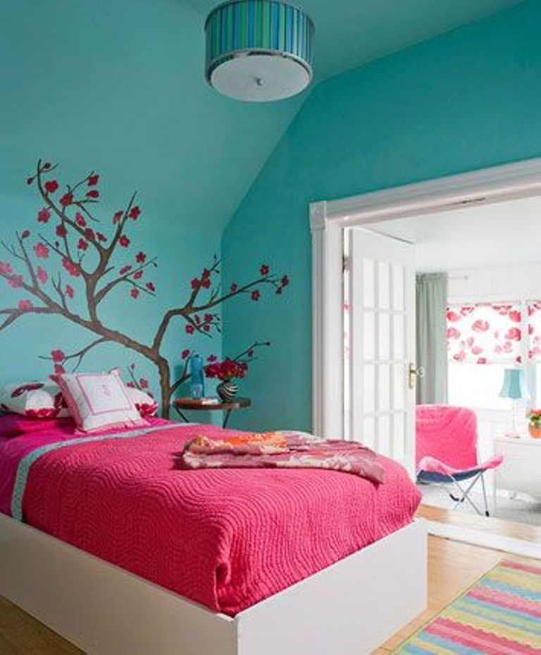 Attractive Aqua Color Bedroom Ideas Part - 6: Bedroom: How To Decorate A Teenage Girlu0027s Room With Bright Colors Cherry  Blossom Wall Decor And Bluish Green Wall For Chic Teenage Girlu0027s Room Ideas  With ...