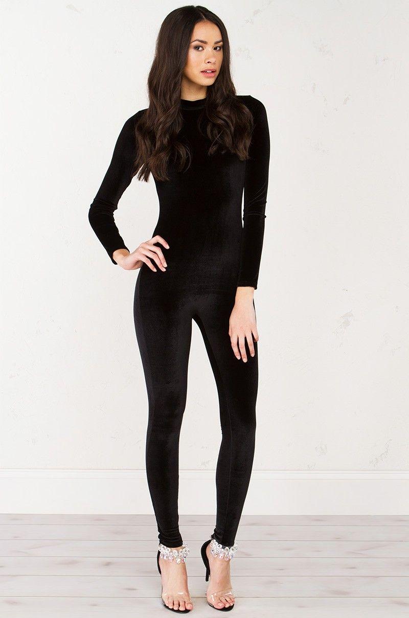 Velvet Catsuit in Black Catsuit outfit, Catsuit, Black