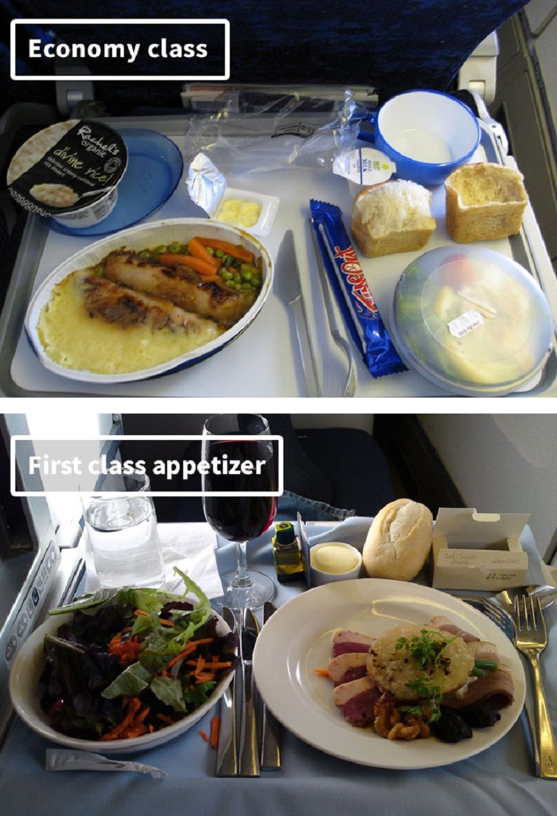 Airplane food economy vs first class meals on 19