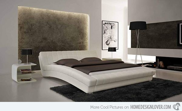 Charming Modern Curved Bed With Padded White Frame And Leather Tables