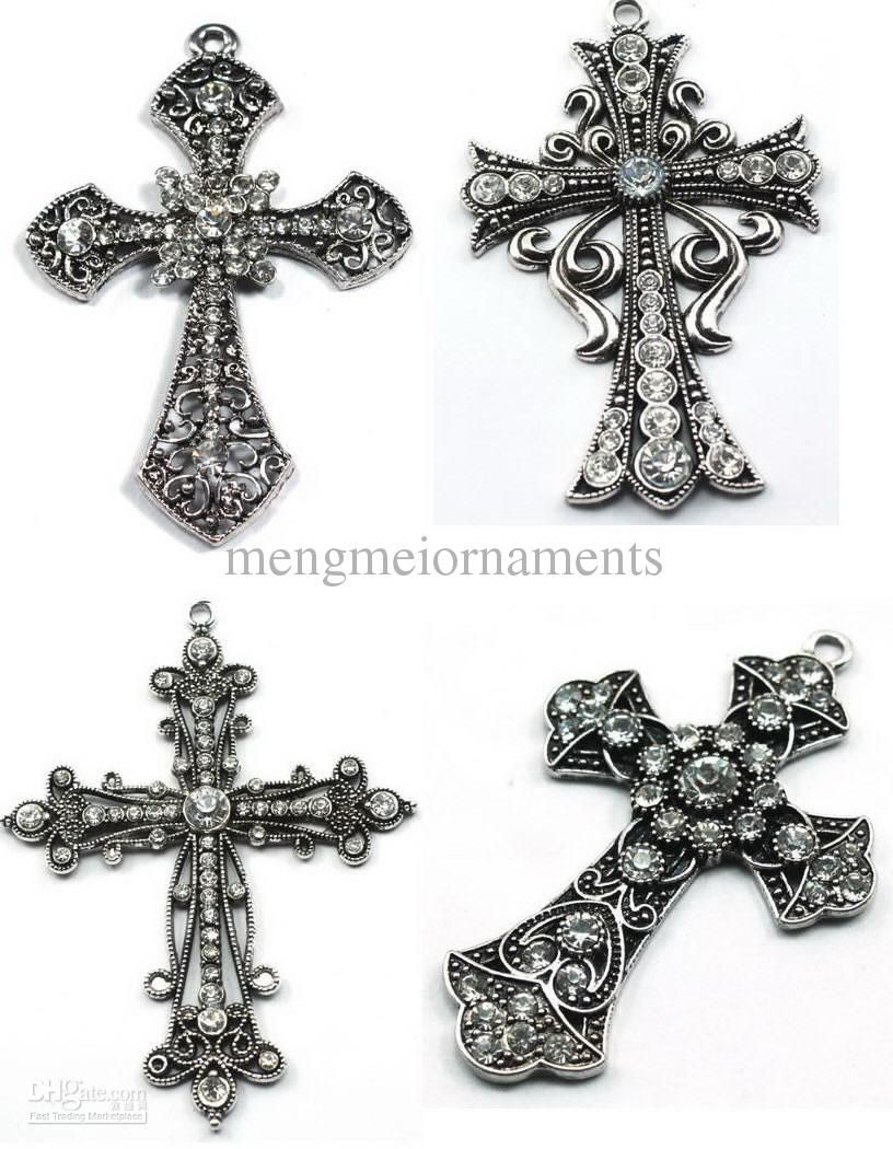 Buy cheap 4styles mixed clear crystal antique silver metal alloy buy cheap 4styles mixed clear crystal antique silver metal alloy cross pendants fit as necklace pendnat aloadofball Choice Image