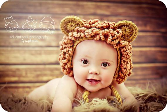 328eb7fea05 3-6 Month Baby Boy Photo Prop Lion Hat in 2019