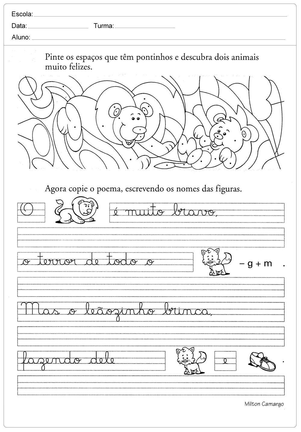 Atividades De Caligrafia Com Frases Para Imprimir Com Imagens
