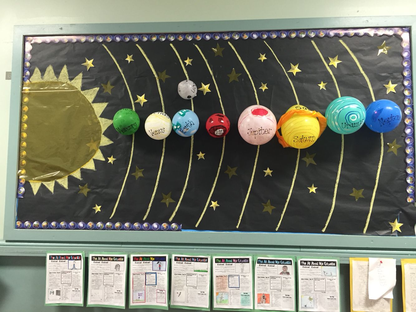 Bulletin board- balloon planets | Space bulletin boards ...