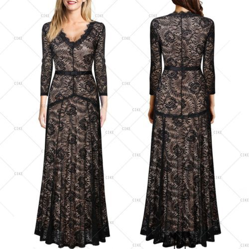 Womens-Sexy-Long-Lace-Bridesmaids-Formal-Cocktail-Evening-Wedding-Gowns-Dresses