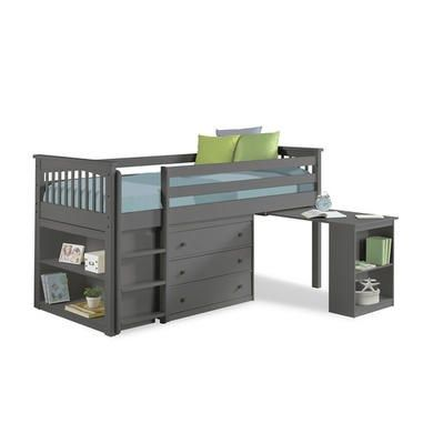 Windermere Midsleeper in Dark Grey with Pull Out Desk in ...