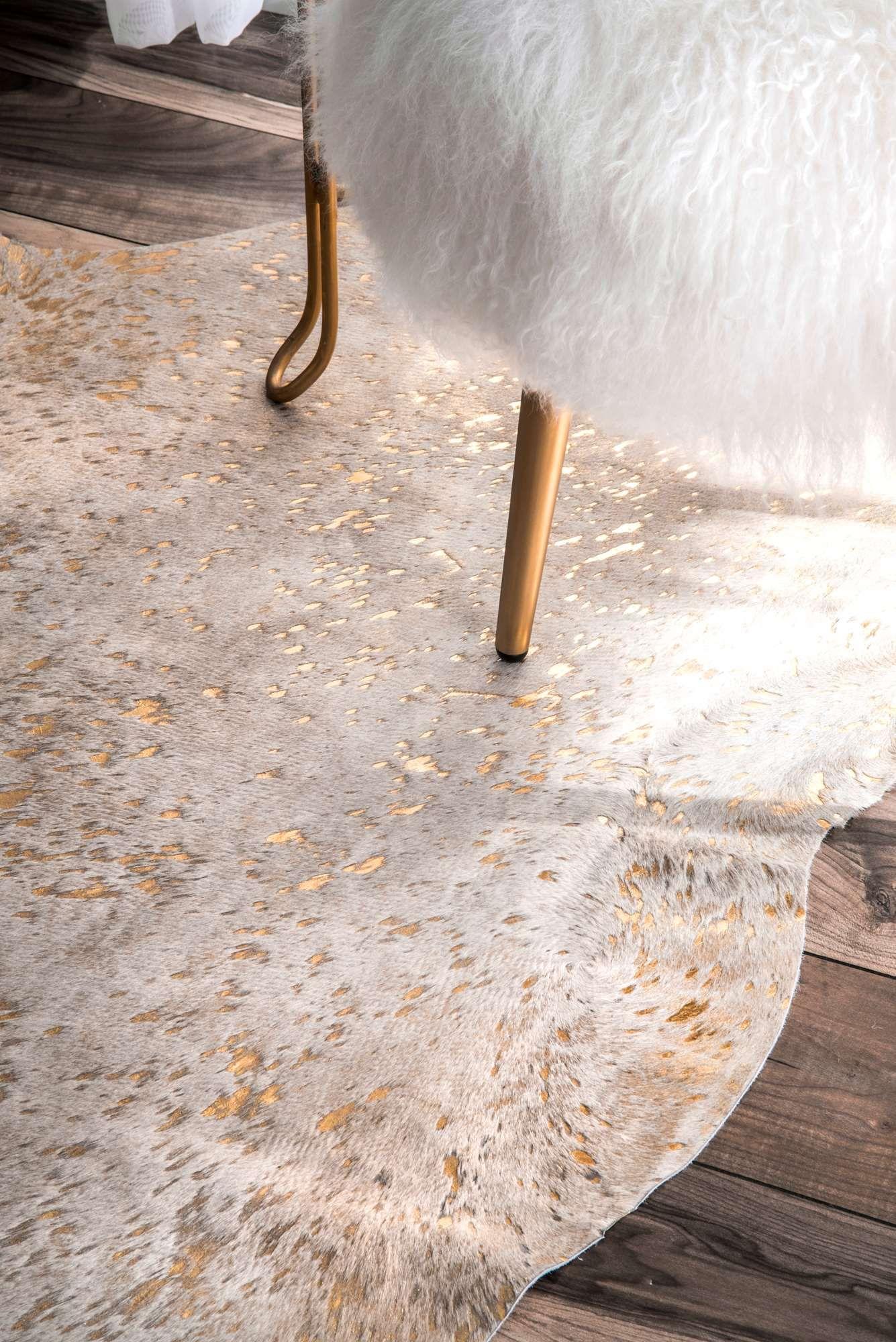 Rugs Usa Metallic Beige Silk Screen Devour Cowhide Rug Animal Prints Shaped 5 X 7 Cowhide Rug Decor Animal Rug
