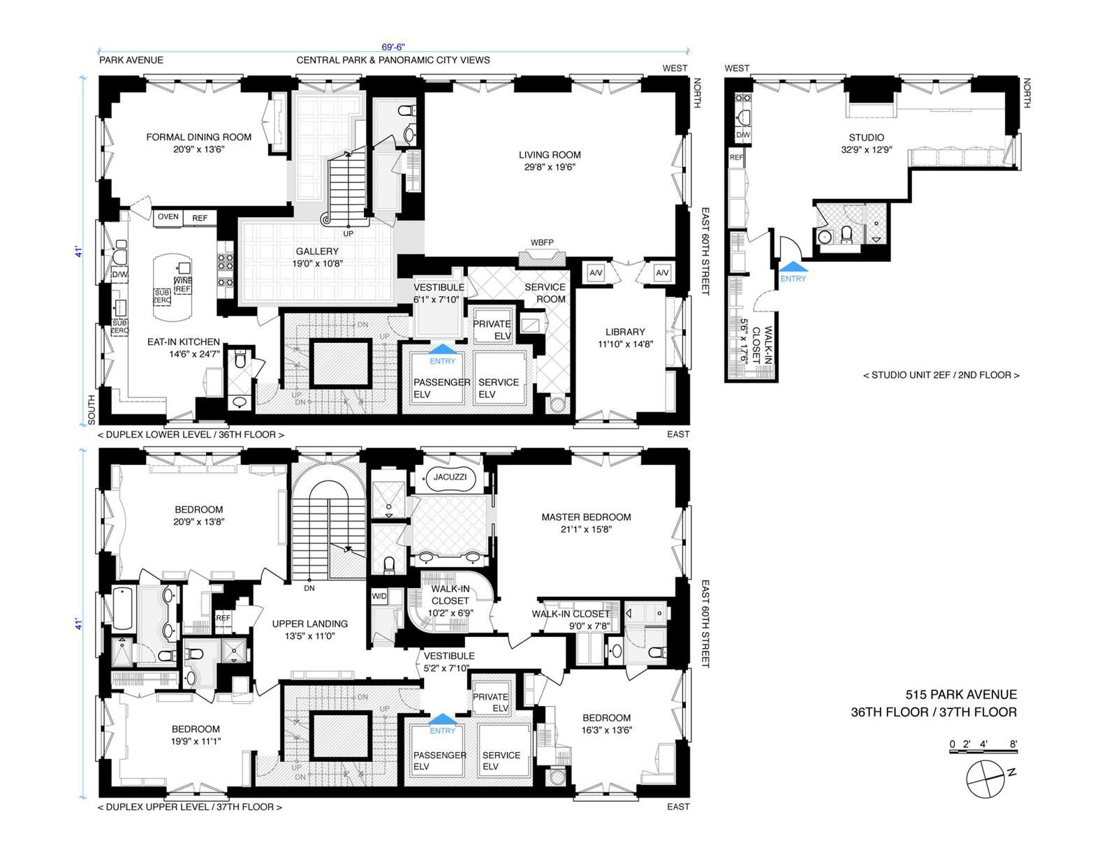 This Stunning 5000 Square Foot Duplex Is Comprised Of The 36th And 37th Floors Of 515 Park Avenue A Wh Apartment Floor Plans Craftsman Floor Plans Floor Plans
