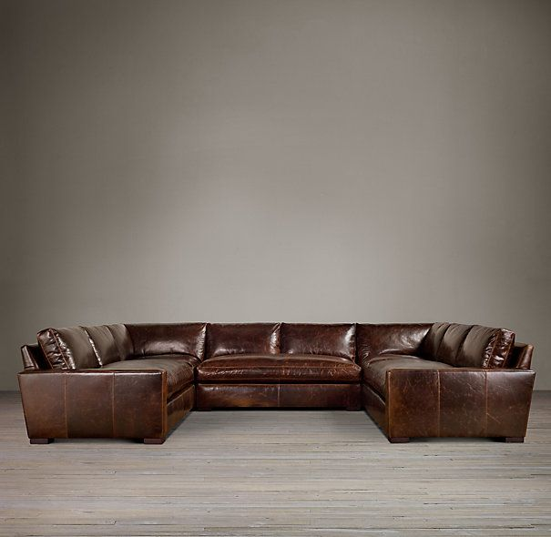 Maxwell Leather Sofa Sectional Available in Cigar Chestnut and