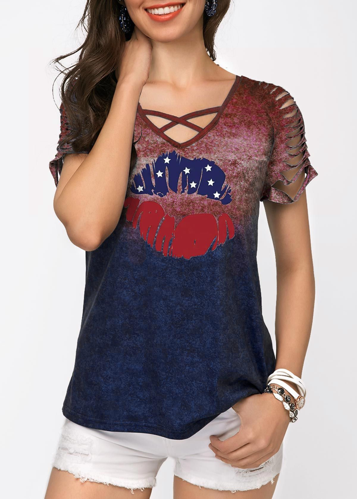 a4f387541aa4 Memorial Day Shredded Sleeve Lip Print T Shirt #liligal #tshirt ...