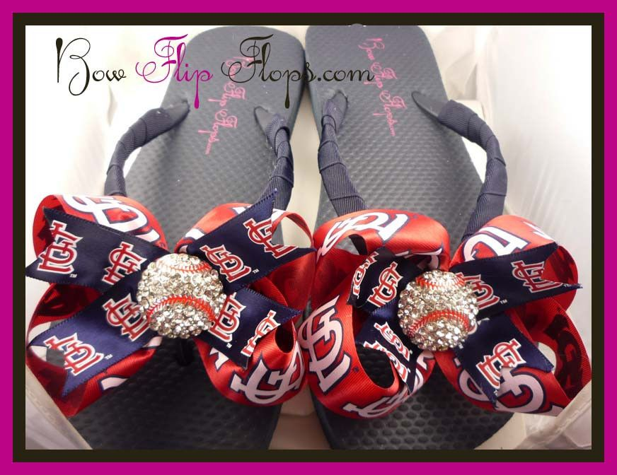 6c84557951759 Cardinals Ribbon Flip Flops with Bows and Bling Rhinestone St Louis Baseball
