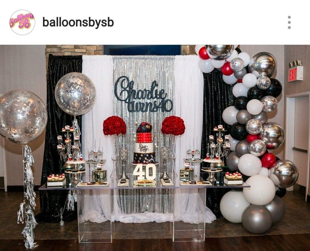 40th Birthday Decoration Ideas Unique 40th Birthday Party Dessert Table And Birthday Party Desserts Birthday Party Tables Birthday Party Decorations For Adults