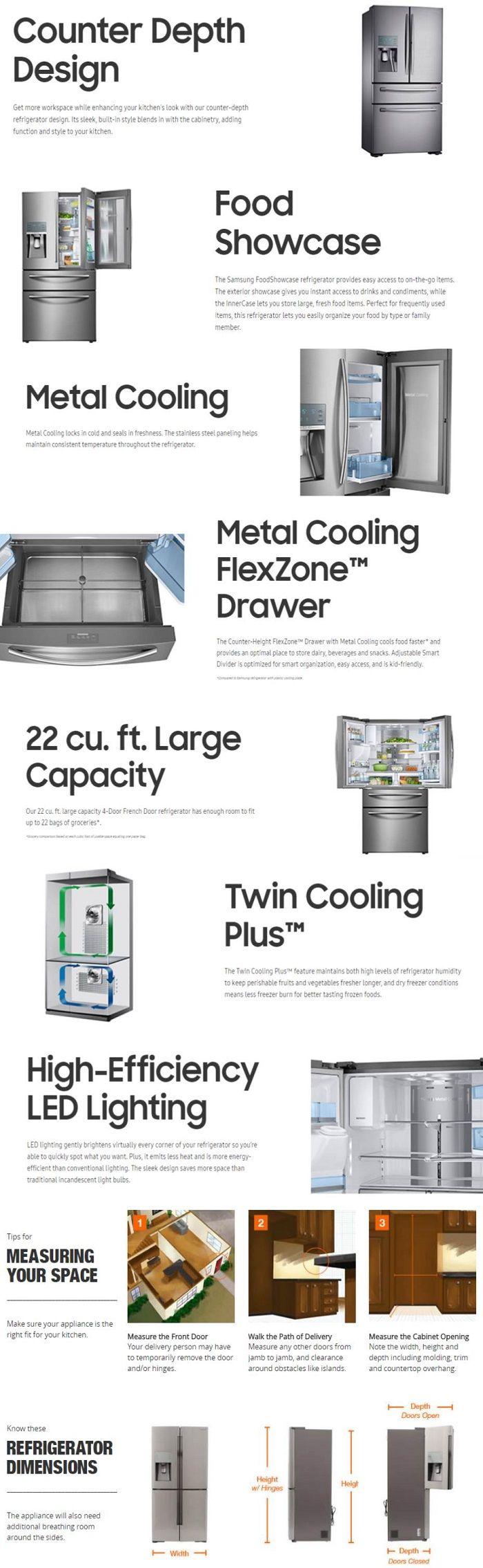 Samsung 224 Cu Ft Food Showcase 4 Door French Door Refrigerator