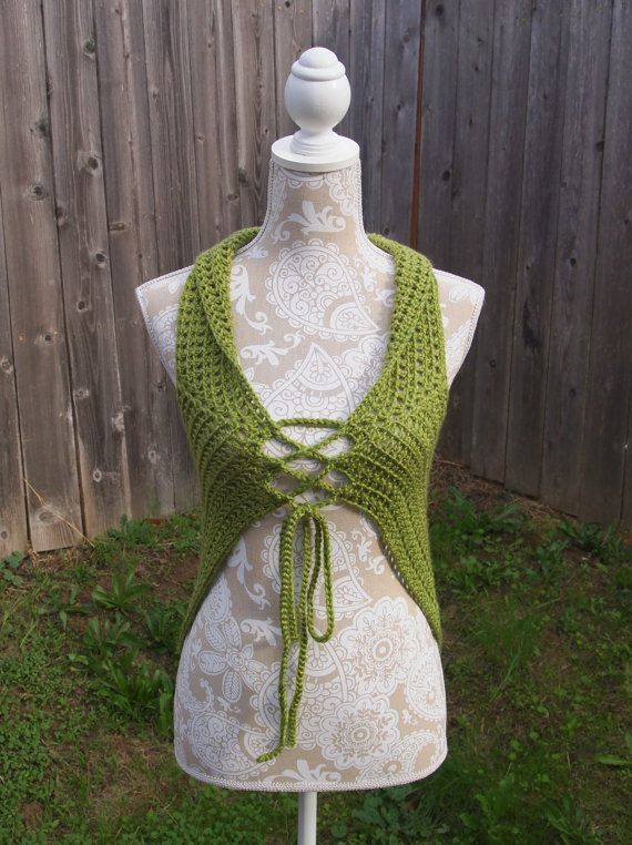 Avocado Green Flower Of Life Crochet Vest Sacred Geometry Festival