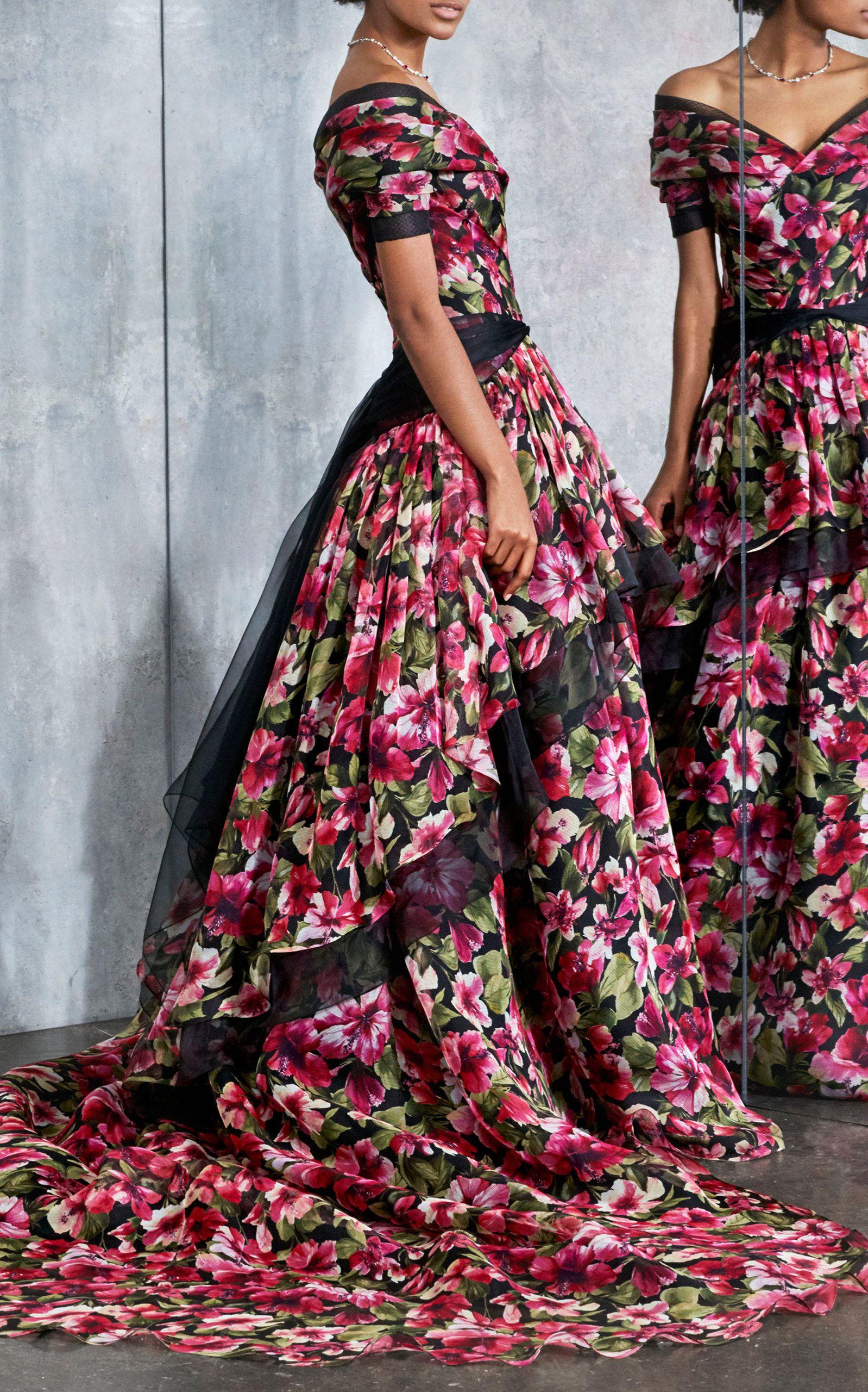 de de seda tono Pamella gran en un de de increíble El GabrielleEl de estampado de de traje gala con organza exuberante floral malla rosado Roland armario fantasía 4PUqn4T